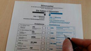 Stimmzettel für die Wahl zum Bundestag