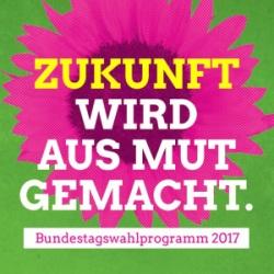 """Cover des Grünen Wahlprogramms mit dem Titel: """"Zukunft wird aus Mut gemacht."""""""