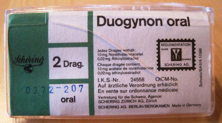 Eine Packung Duogynon-Tabletten