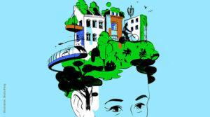 Skizze eines Kopfes, dessen Haare grün sind und in eine Stadtsilhouette übergehen (Bäume, Wiese, Zug, Radfahrer, Häuser - ebenfalls skizziert)