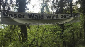 Im Wald zwischen Bäumen ist ein Banner gespannt, auf dem steht: Unser Wald wird zerstört - www.nein-zum-moselaufstieg.de